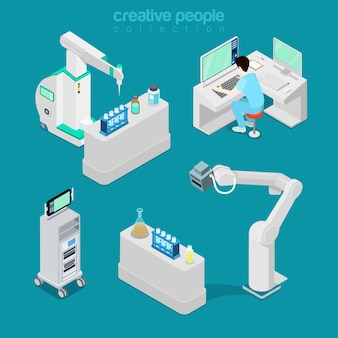 Moderne ausrüstung des isometrischen flachen krankenhauses, diagnostische illustration des computerlabors