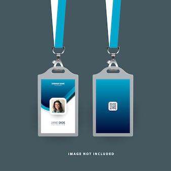 Moderne ausweisvorlage mit blauer farbe