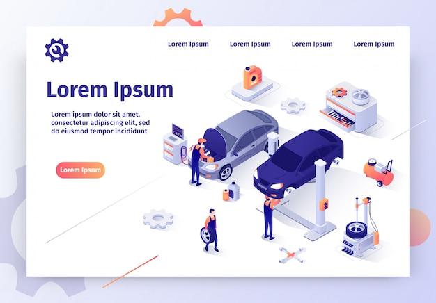 Moderne auto-werkstatt-isometrische vektor-website