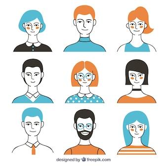 Moderne avatar-kollektion mit buntem stil