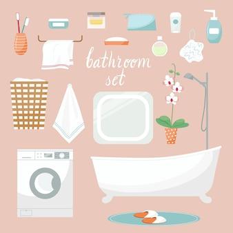 Moderne badezimmer-cartoon-elemente vektor-badezimmer-innenausstattung und hygiene-accessoires