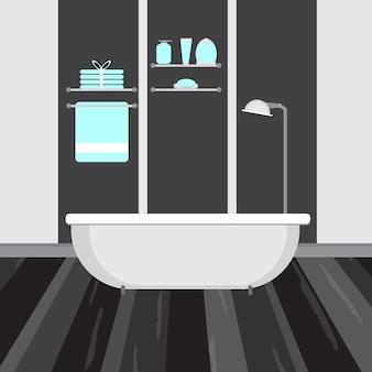 Moderne badezimmereinrichtung in dunkler farbe. flache vektorgrafik
