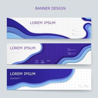 Moderne banner setzen schablonendesign mit wellenelementen