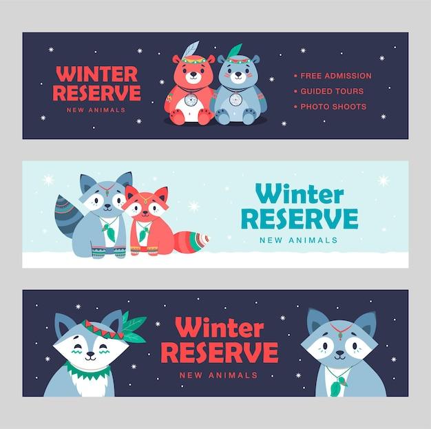 Moderne bannerentwürfe mit reizenden niedlichen tieren. broschüren für das hotel der amerikanischen ureinwohner
