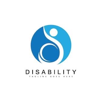 Moderne behinderte menschen unterstützen das logo