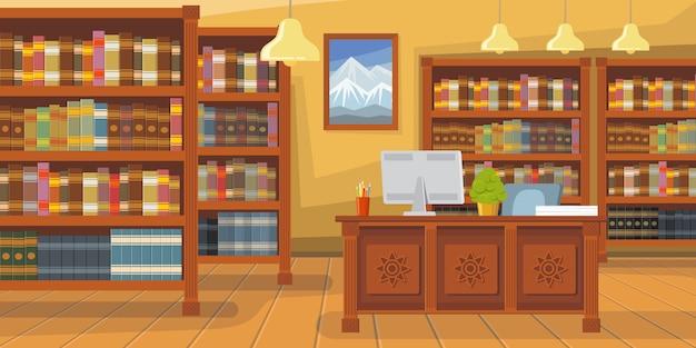Moderne bibliothek mit bücherregalillustration