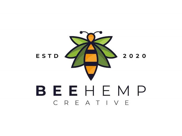 Moderne biene cannabis hanf blatt marihuana logo inspiration