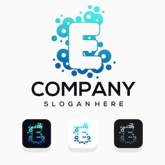 Moderne blase mit buchstaben e-logo-design