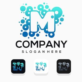 Moderne blase mit logo-design des buchstaben m