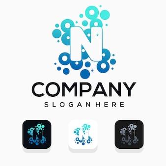 Moderne blase mit logo-design des buchstaben n
