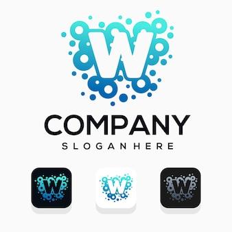 Moderne blase mit logo-design des buchstaben w
