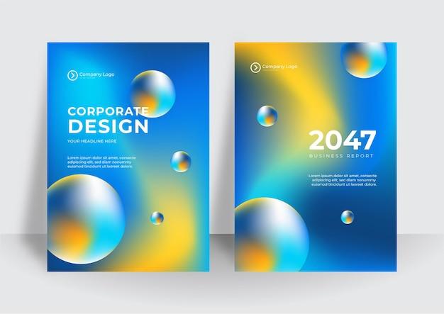 Moderne blau-gelbe corporate identity abdeckung business-vektor-design-hintergrund. flyer broschüre werbung abstrakten hintergrund. broschüre moderne poster-magazin-layout-vorlage. abdeckung des jahresberichts.
