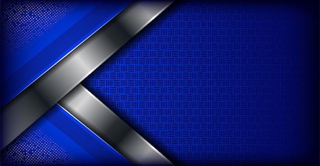 Moderne blaue abstrakte fahnenhintergrund-überlappungsschicht mit silber