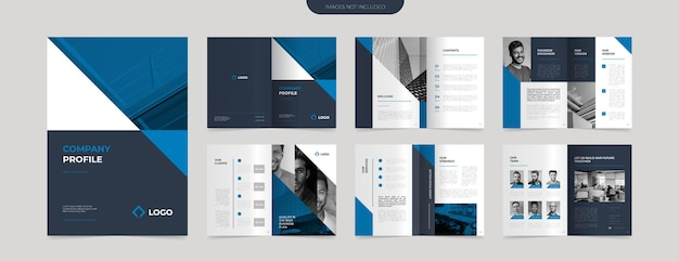 Moderne blaue firmenprofil-designvorlage