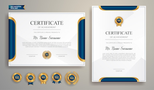 Moderne blaue und goldene zertifikatschablone mit abzeichen und rand