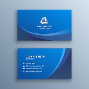 Moderne blaue visitenkarte mit abstrakten wellen