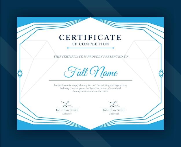 Moderne blaue vorlage für anerkennungszertifikate