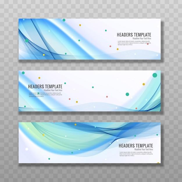 Moderne blaue wellenförmige baners