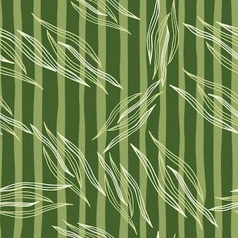 Moderne botanische linie formt nahtloses muster auf grünem streifenhintergrund. natur tapete. design für stoff, textildruck, verpackung, abdeckung. vektor-illustration.