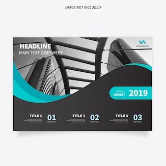 Moderne broschüren-schablone mit stilvollen wellen