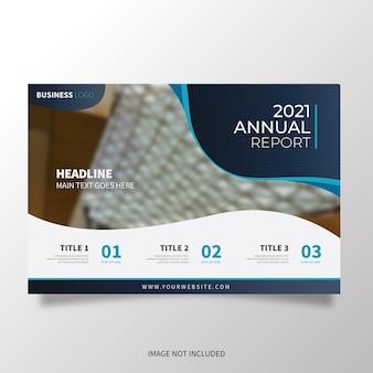 Moderne broschürenschablone horizontal mit gewellten formen