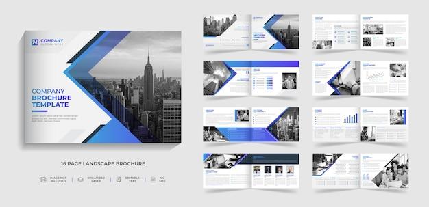 Moderne broschürenvorlage für unternehmen mit zweifach gefalteter landschaft und design für den jahresbericht des unternehmensprofils