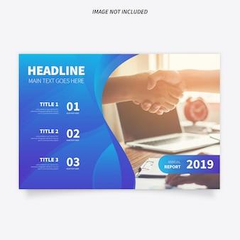 Moderne Broschüren-Schablone mit blauem Hintergrund