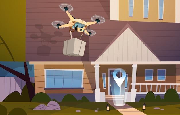 Moderne brummen-fliege über wohnungsbau mit kasten, lufttransport und lieferungs-technologie-konzept