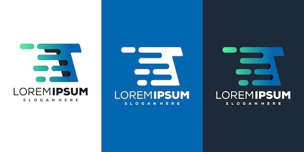 Moderne buchstabe t tech logo vorlage