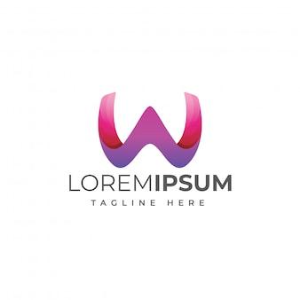 Moderne buchstabe w logo vorlage