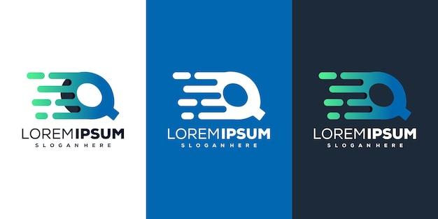 Moderne buchstaben q tech logo vorlage