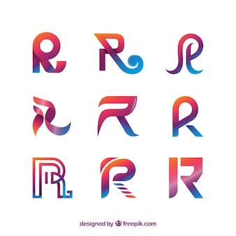 Moderne buchstaben r logo sammlung