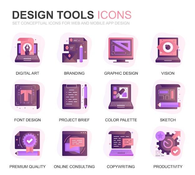 Moderne bühnenbild-werkzeug-steigungs-flache ikonen