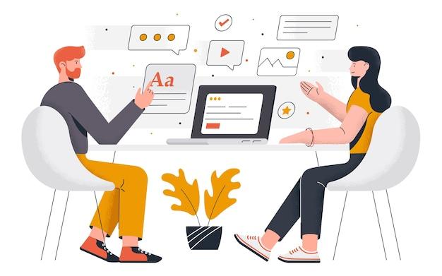 Moderne büroarbeit. junger mann und frau arbeiten zusammen am projekt. büroarbeit und zeitmanagement. einfach zu bearbeiten und anzupassen. illustration