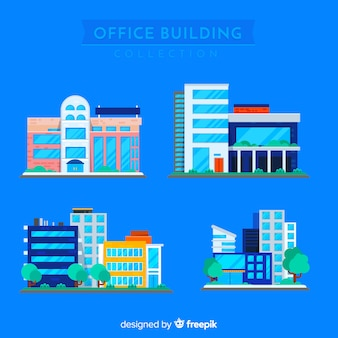 Moderne bürohaussammlung mit flachem design
