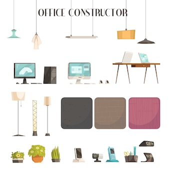 Moderne büroinnenraumdesignplanungs-karikaturikonen stellten mit farben ein und abstrakte vektorillustration der zubehörproben
