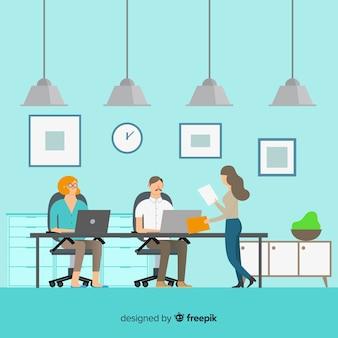 Moderne büroleutenzusammensetzung mit flachem design