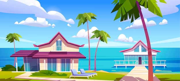 Moderne bungalows am strand des inselresorts, tropische sommerlandschaft mit häusern auf pfählen mit terrasse, palmen und meerblick. private villen aus holz, hotel oder cottages, cartoon-vektorillustration