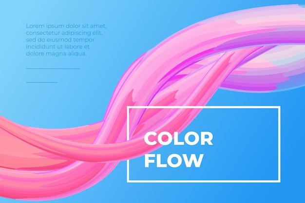 Moderne bunte flüssigkeitsströmungsplakatwellenflüssigkeitsform im blauen farbhintergrundkunstentwurf für design