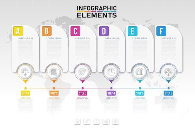 Moderne bunte infografiken verarbeiten vorlage mit symbolen für 6 optionen.