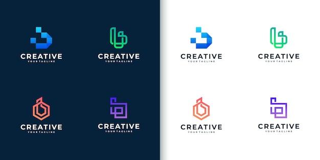 Moderne bunte monogrammbuchstaben-b-logo-sammlung für unternehmen