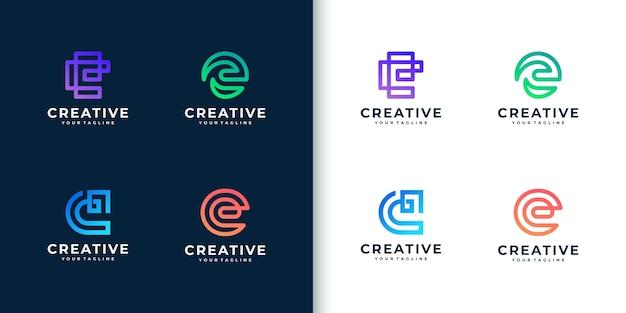 Moderne bunte monogrammbuchstaben-e-logo-sammlung für unternehmen