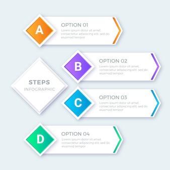 Moderne bunte schritte infografiken festgelegt