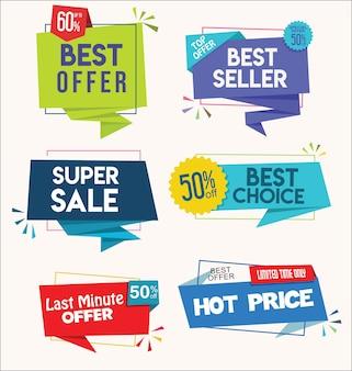 Moderne bunte tags und aufkleber in premiumqualität und bestseller-kollektion