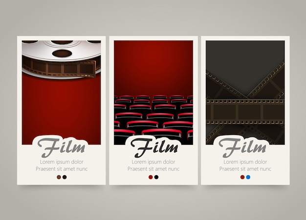 Moderne bunte vertikale kinobanner.