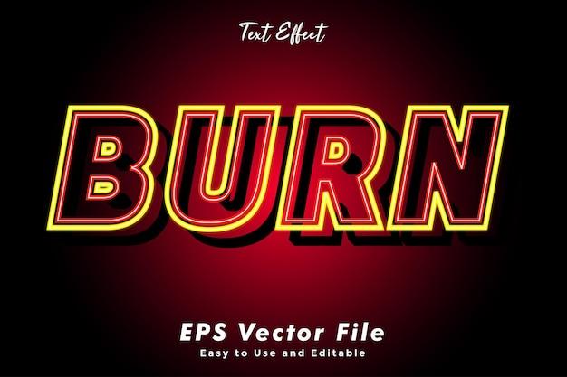 Moderne burn text typografie effekt vorlage