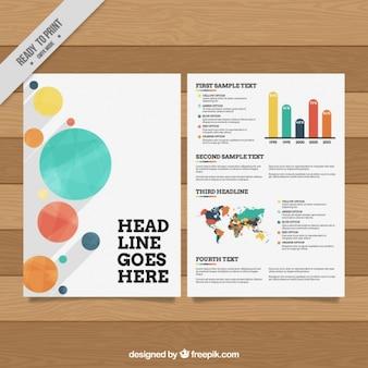 Moderne business-broschüre mit farbigen kreisen und charts