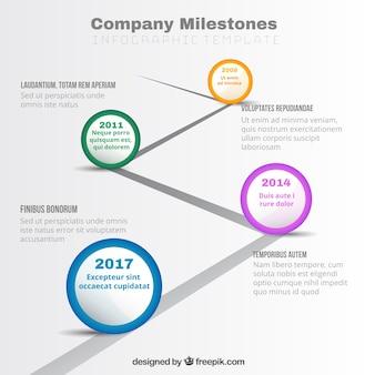 Moderne business-grafik mit meilensteinen