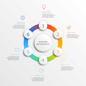 Moderne business-infografiken mit realistischen runden 3d-elementen.