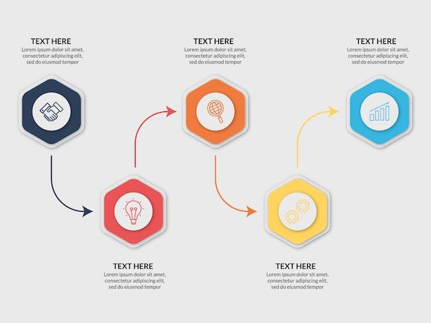 Moderne business infographik vorlage 5 schritte